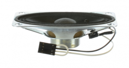A paper voice range medical speaker, 2 x 3.5 inches, for medical devices like ventilators and ultrasound.
