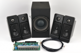 Turnkey audio system for casino gaming consoles including speakers amplifier subwoofer and wiring harness MISCO model TK-404
