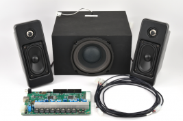 Turnkey audio system for casino gaming consoles including speakers amplifier subwoofer and wiring harness MISCO model TK-403