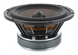 Carbon fiber woofer with phase plug 6.5 inch round Bold North Audio model 82130