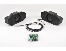 Turnkey audio system for casino gaming consoles including speakers amplifier subwoofer and wiring harness MISCO model TK-102