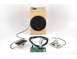 Turnkey audio system for casino gaming consoles including speakers amplifier subwoofer and wiring harness MISCO model TK-302