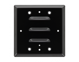 """A 4.5"""" square aluminum louvered grille for speakers - 74283."""