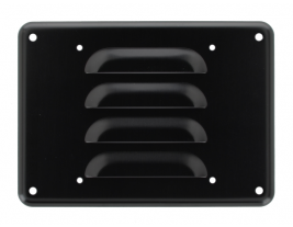 """A 6.5"""" aluminum louvered grille with black finish for speakers - 74119."""