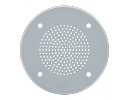 """A 7"""" round stainless steel ceiling grille for speakers - BAF-938-11044-A."""
